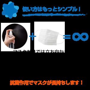 マスクだけでは立ち向かえない! プッシュ式スプレーボトルに詰め替え、 使用前に、セラウォーターをよく振り マスクの両面にシュッシュッと吹きかけ、水滴を切ってからご使用ください。 抗菌作用でマスクが長持ちします!