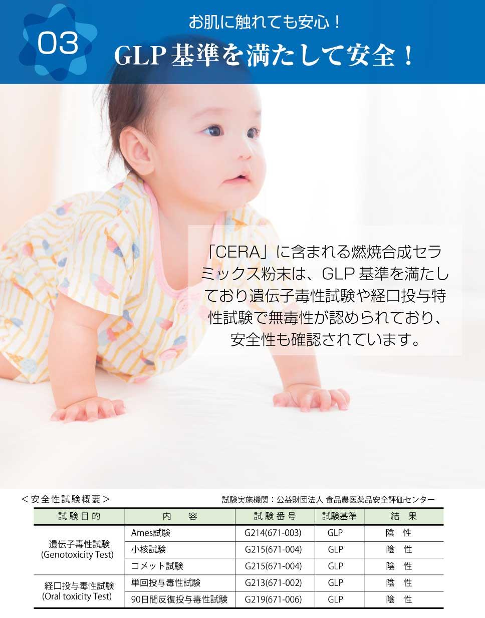 「CERA」に含まれる燃焼合成セラミックス粉末は、GLP基準を満たしており遺伝子毒性試験や経口投与特性試験で無毒性が認められており、安全性も確認されています。